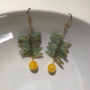 Handmade Quartz and Czech glass dagger earrings